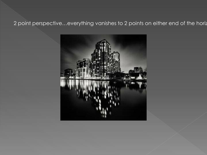 2 point perspective…everything vanishes to 2 points on either end of the horizon line