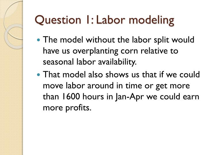 Question 1: Labor modeling