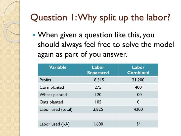 Question 1: Why split up the labor?