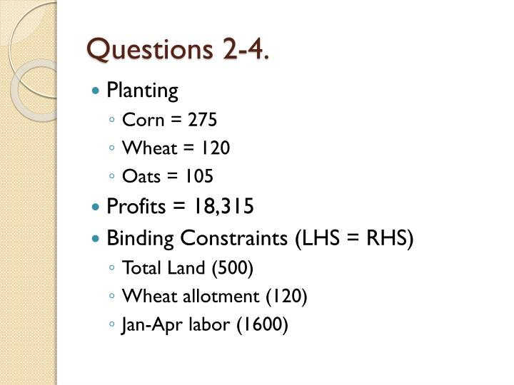 Questions 2-4.