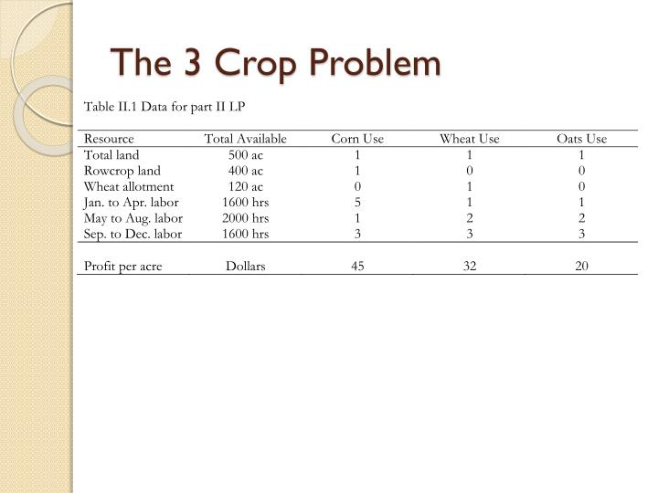 The 3 Crop Problem