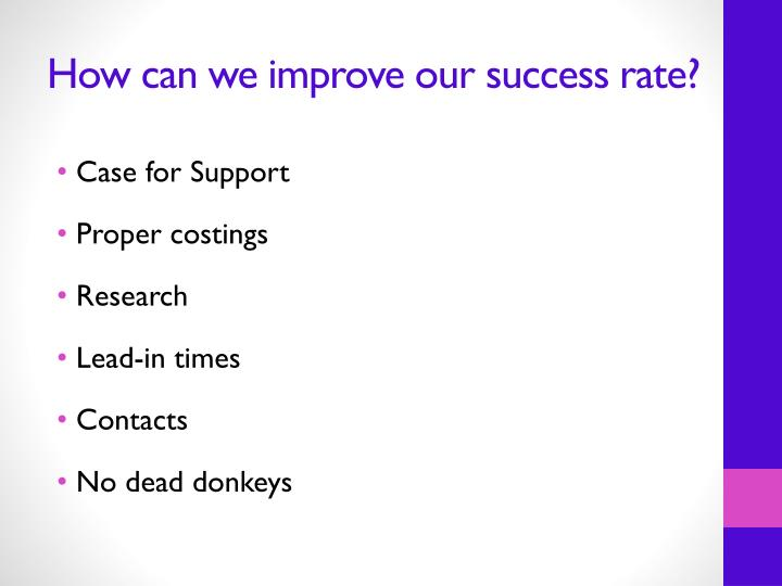 How can we improve our success rate?
