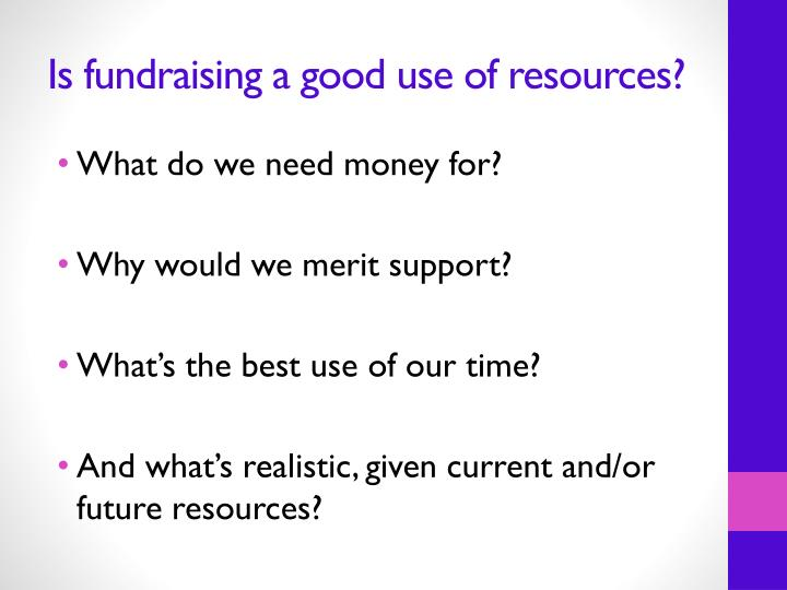 Is fundraising a good use of resources?