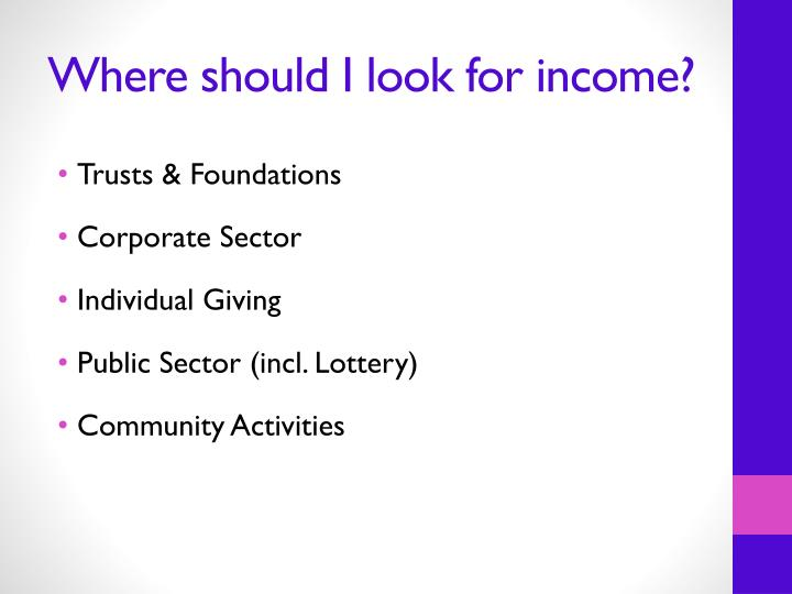 Where should I look for income?