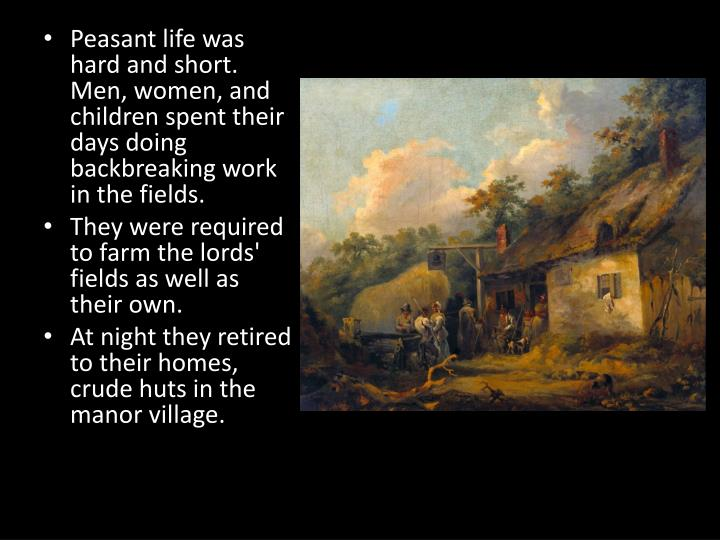 Peasant life was hard and short.  Men, women, and children spent their days doing backbreaking work in the fields.