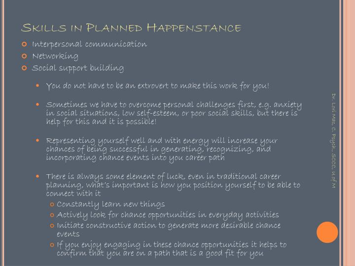 Skills in Planned Happenstance