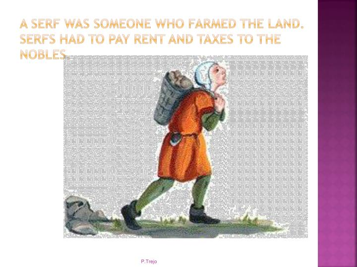A serf was someone who farmed the land. Serfs had to pay rent and taxes to the nobles.