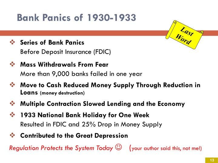 Bank Panics of 1930-1933
