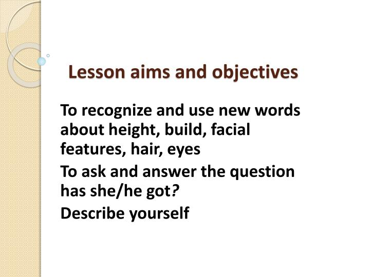 Lesson aims and objectives