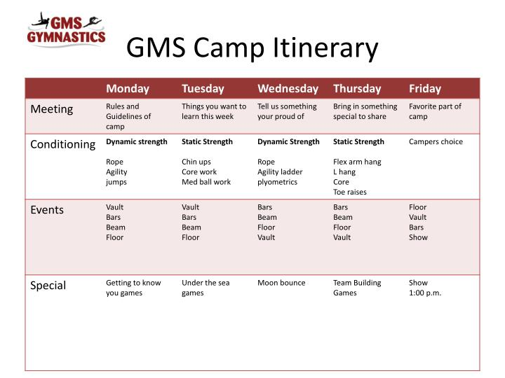 Gms camp itinerary