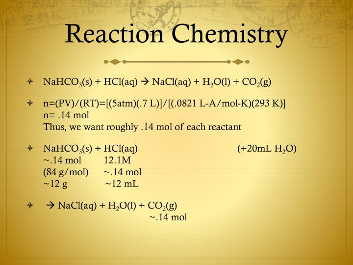 Reaction chemistry