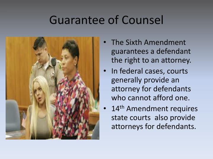 Guarantee of Counsel