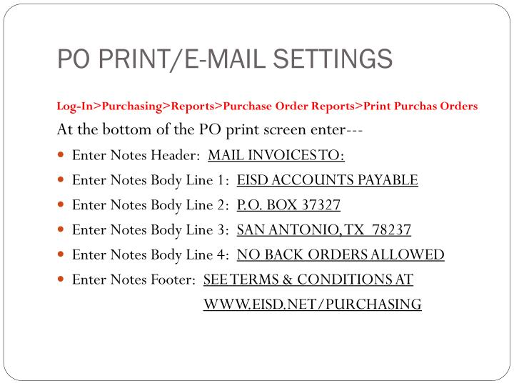 Po print e mail settings