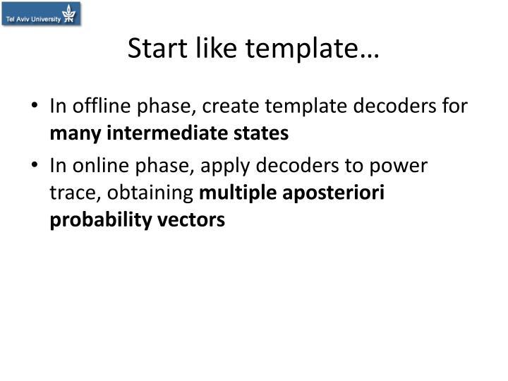 Start like template…