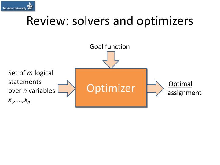 Review solvers and optimizers