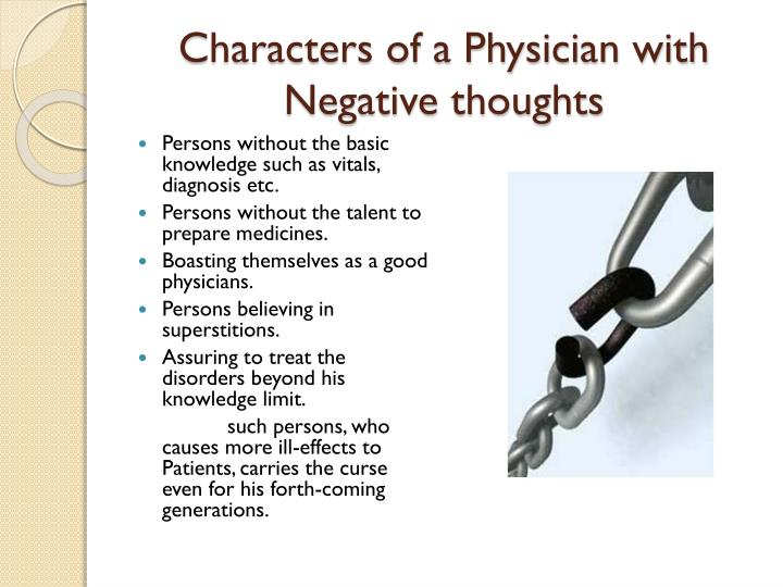 Characters of a Physician with Negative thoughts