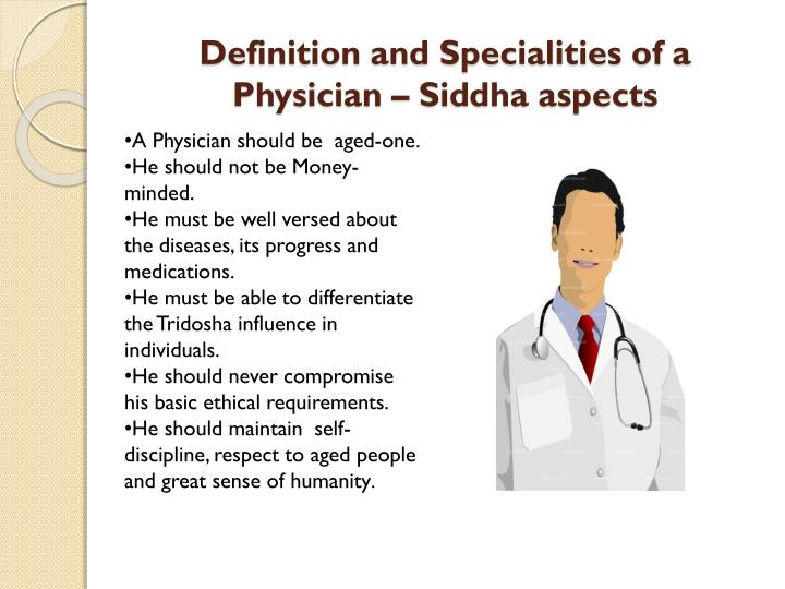 Definition and Specialities of a Physician – Siddha aspects