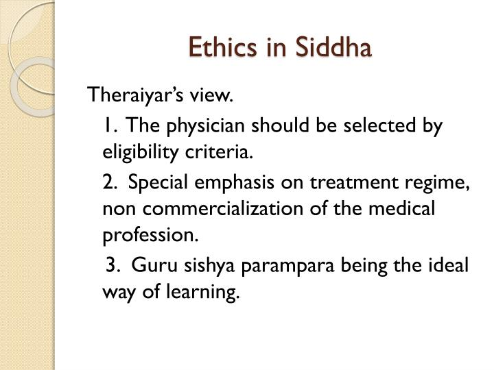 Ethics in Siddha