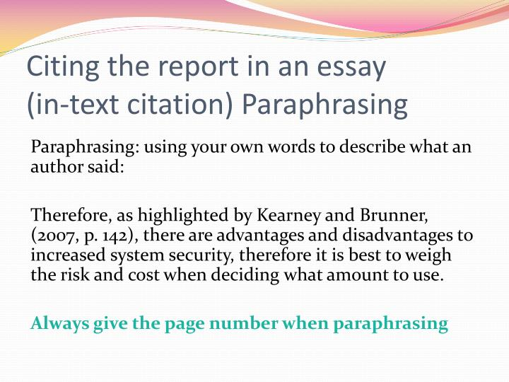 Paraphrasing and citation examples
