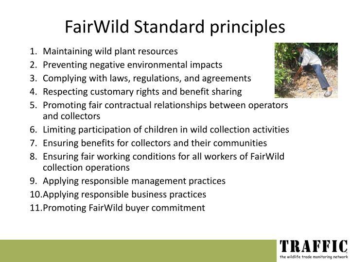 FairWild Standard principles