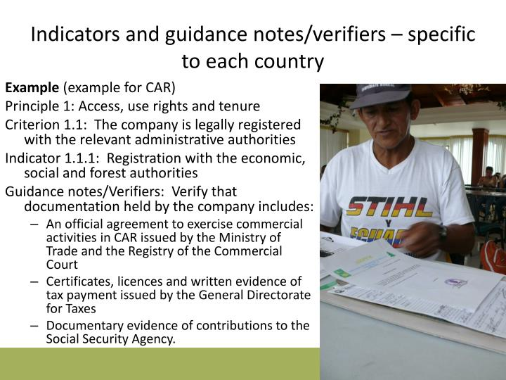 Indicators and guidance notes/verifiers – specific to each country