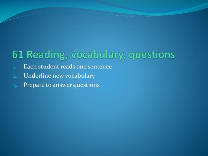 61 reading vocabulary questions