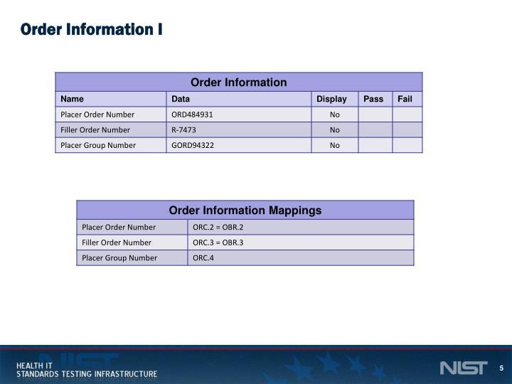 Order Information I