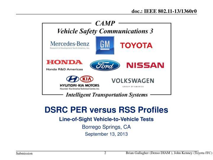 DSRC PER versus RSS Profiles