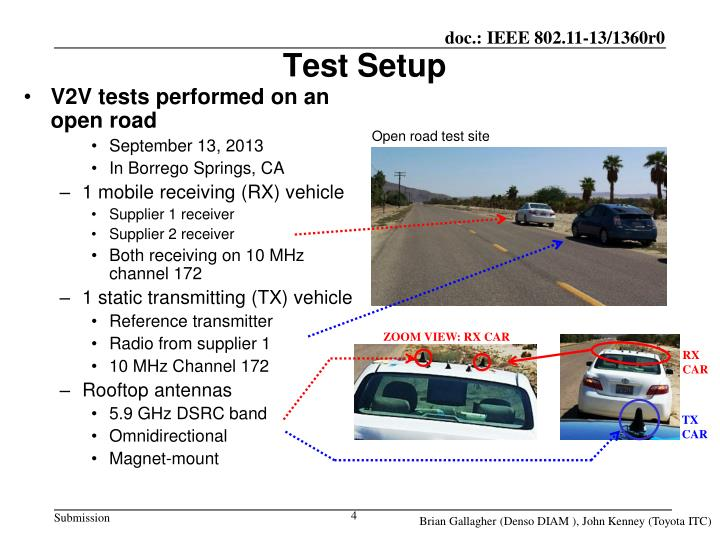 V2V tests performed on an open road