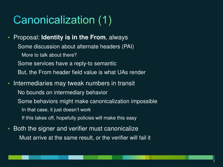 Canonicalization (1)