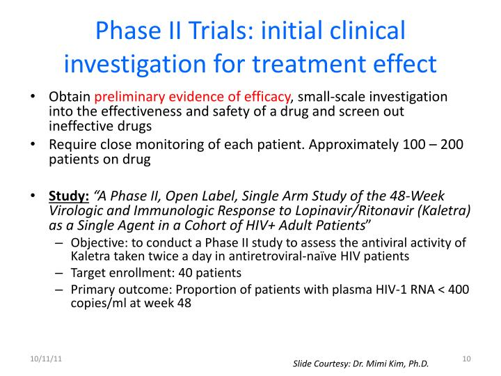 Phase II Trials: initial clinical investigation for treatment effect