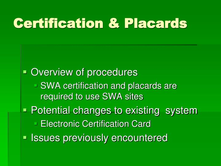 Certification placards