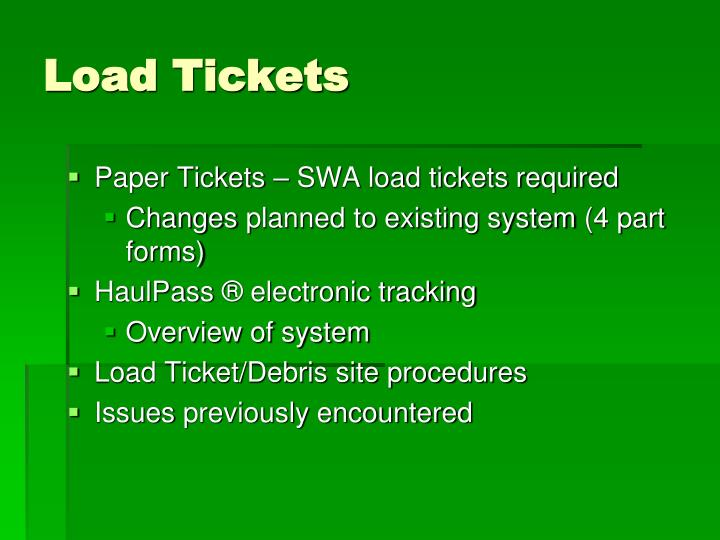 Load Tickets