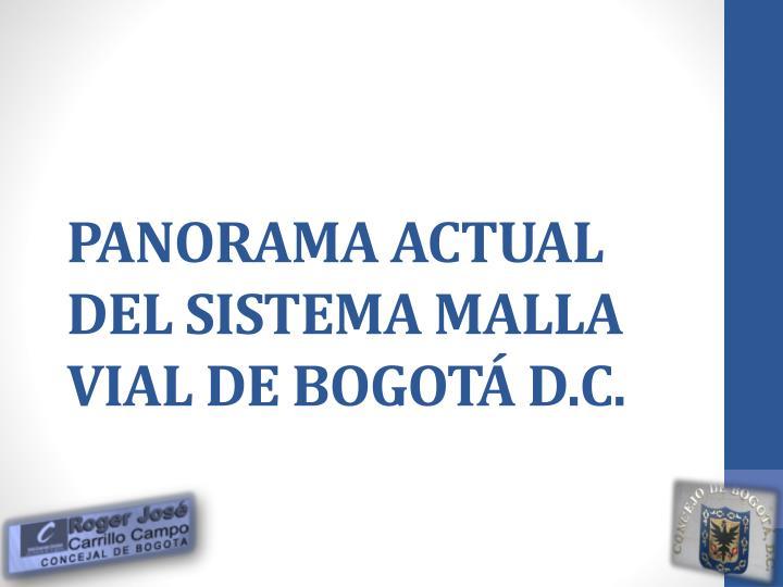 PANORAMA ACTUAL DEL SISTEMA MALLA VIAL DE BOGOTÁ D.C.