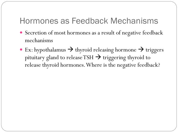 Hormones as Feedback Mechanisms