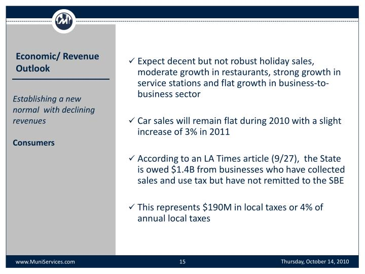 Expect decent but not robust holiday sales, moderate growth in restaurants, strong growth in service stations and flat growth in business-to-business sector