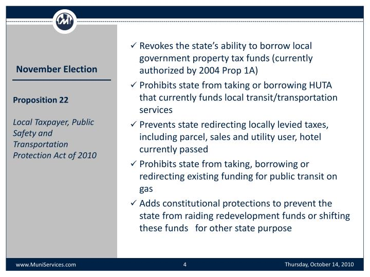 Revokes the state's ability to borrow local government property tax funds (currently authorized by 2004 Prop 1A)