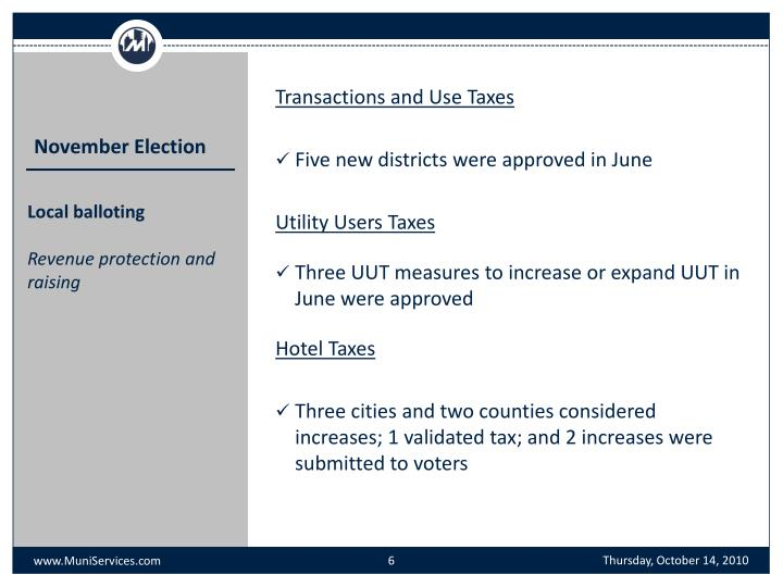 Transactions and Use Taxes