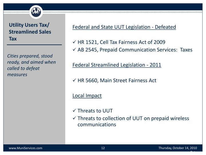 Federal and State UUT Legislation - Defeated