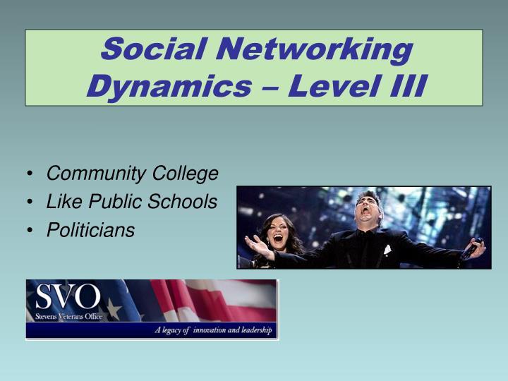 Social Networking Dynamics – Level III