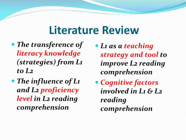 review of related literature on reading comprehension A research synthesis 2010 a review of the current research comprehension processes resulted in a lower growth rate of students' reading comprehension than did strategic approaches in a related study, guthrie and colleagues.