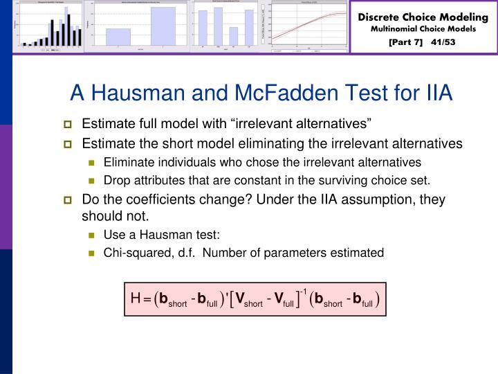 A Hausman and McFadden Test for IIA