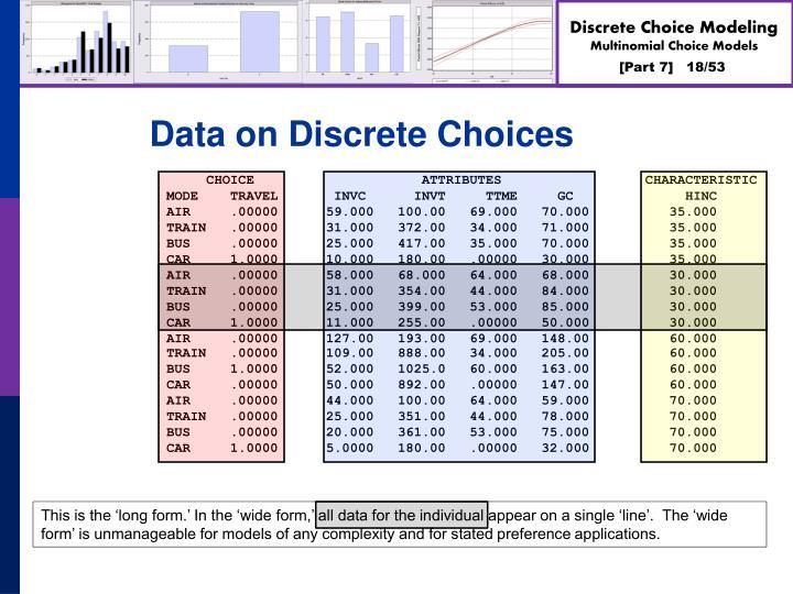 Data on Discrete Choices