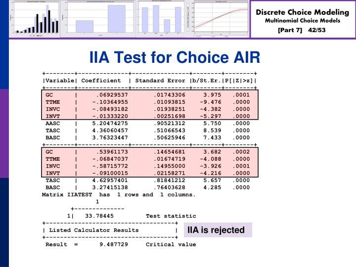 IIA Test for Choice AIR