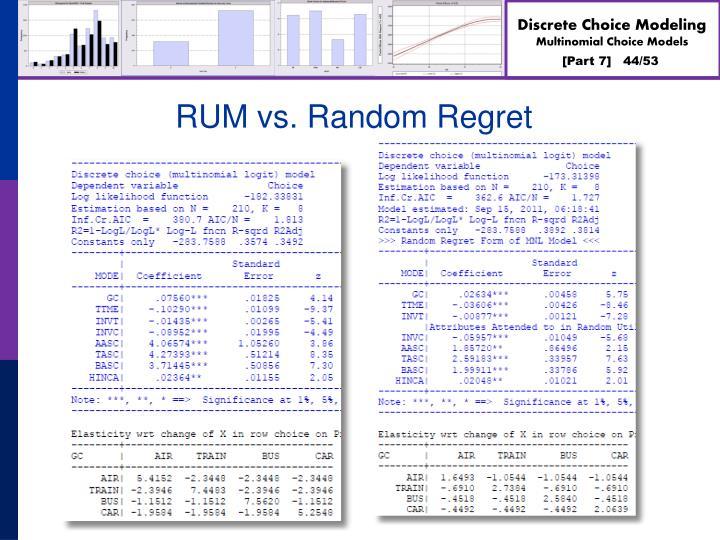 RUM vs. Random Regret