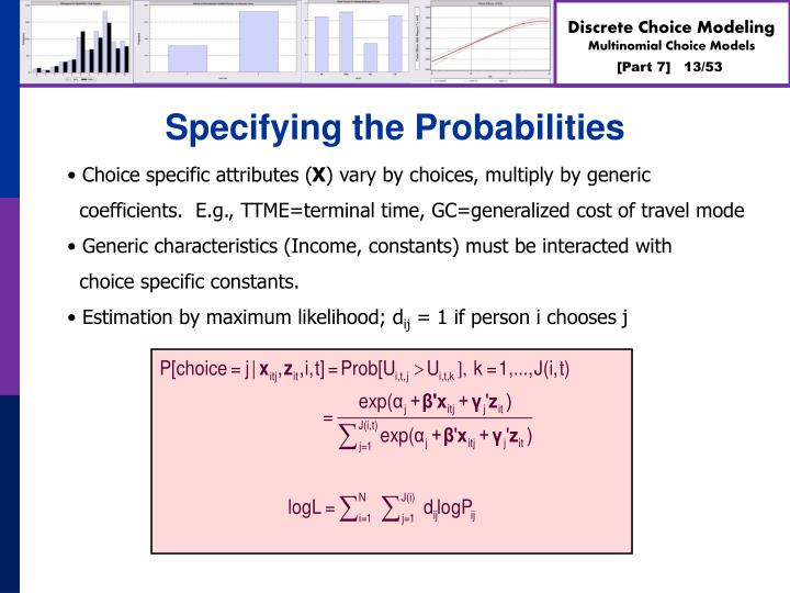 Specifying the Probabilities