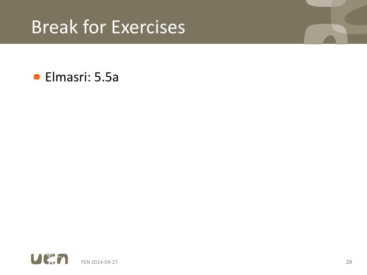 Break for Exercises