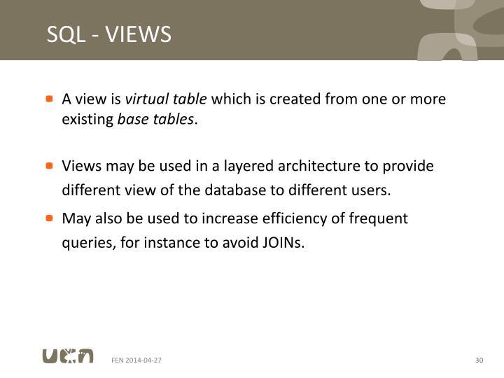 SQL - VIEWS