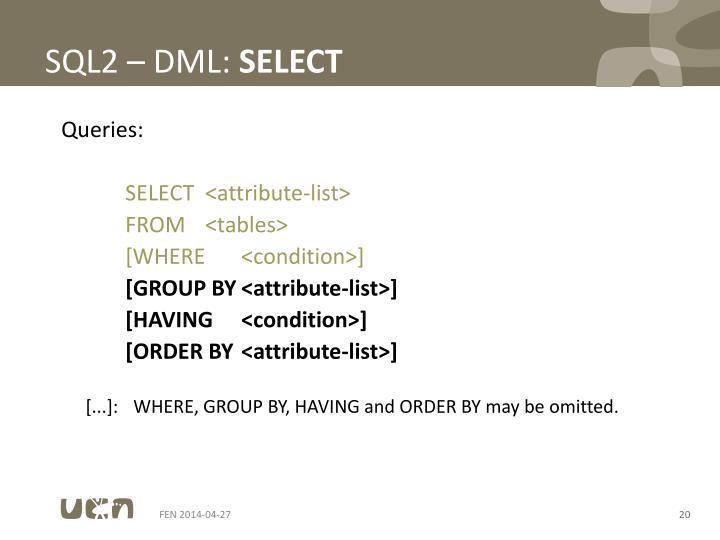 SQL2 – DML: