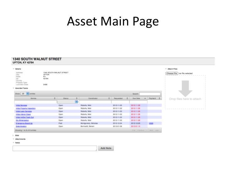 Asset Main Page